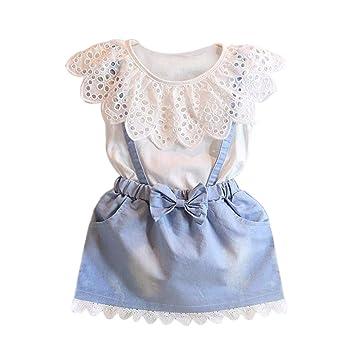 d45d49745 ❤️ Amlaiworld Ropa niña de Verano Vestido de princesa de bebé Niñas Vestido  de fiesta de tutú de flor de mezclilla Denim Falda de Fiesta 2 ...