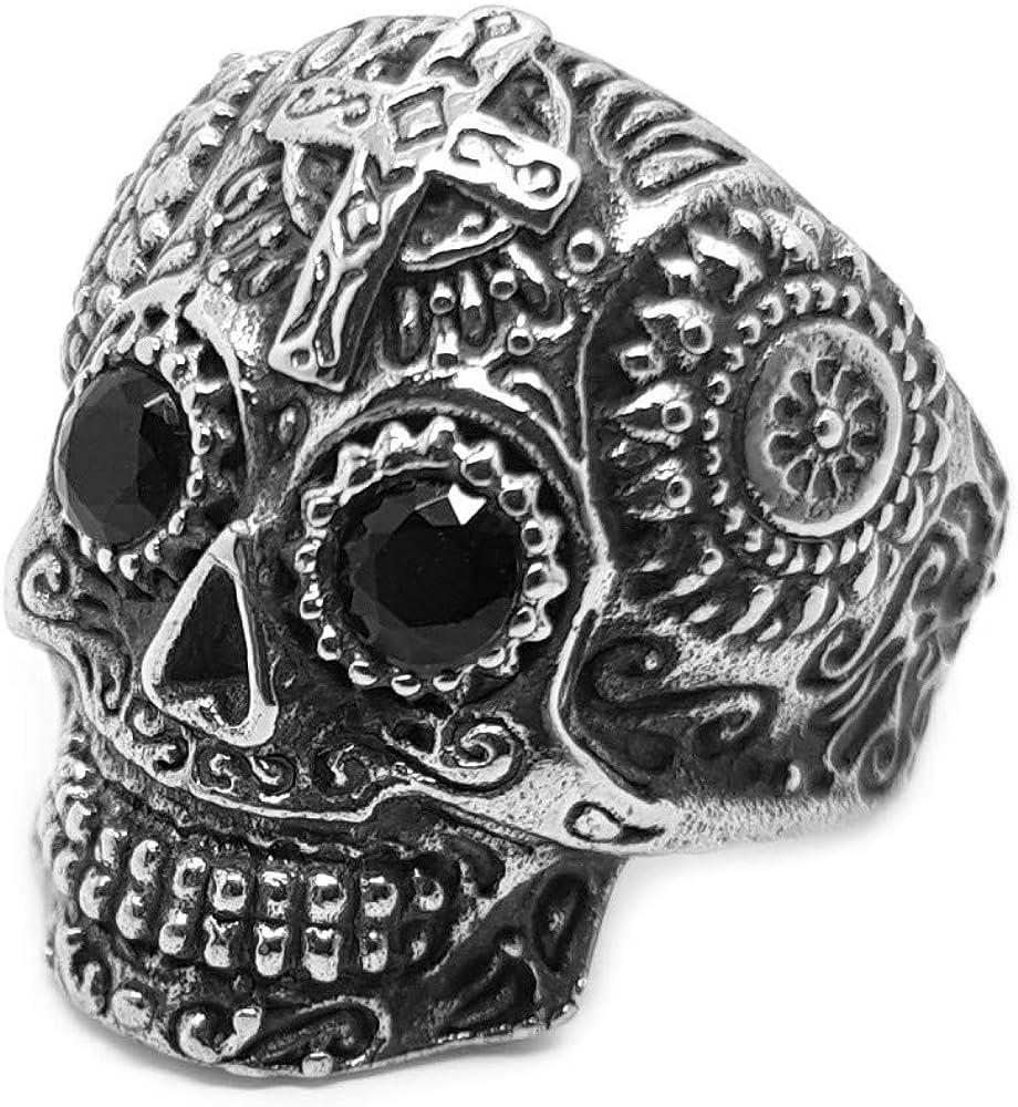 BOBIJOO JEWELRY - Anillo Anillo Anillo de la Muerte del Hombre de la Cabeza del Cráneo del Motorista de la Maya de la Cruz 316L de Acero Negro de Ojos
