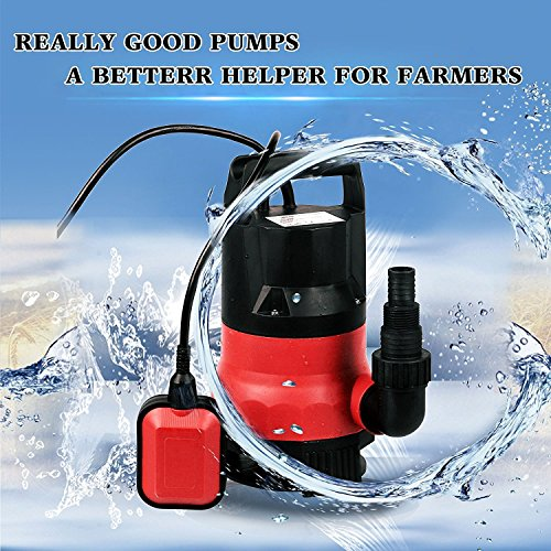 Collection Exposed Tub (Creine 1/2 HP 2000GPH 400W Submersible Water Pump, Saving Small Powerful Clean/Dirty Water Sump Pump with Float Switch (US Stock) (Red))