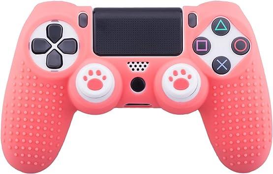 MXRC - Carcasa de silicona para mando PS4/SLIM/PRO (coral) + 2 empuñaduras para pulgar de gato: Amazon.es: Electrónica