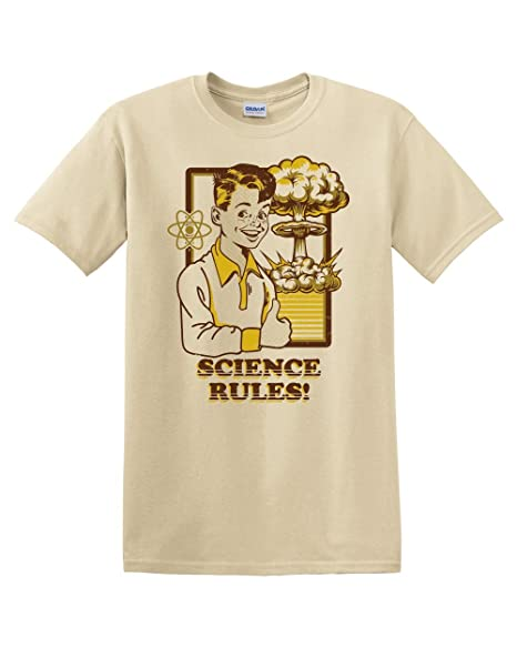 Science Rules Funny Humor Meme Atom Nuclear Vintage Adult Men's T-Shirt  Apparel