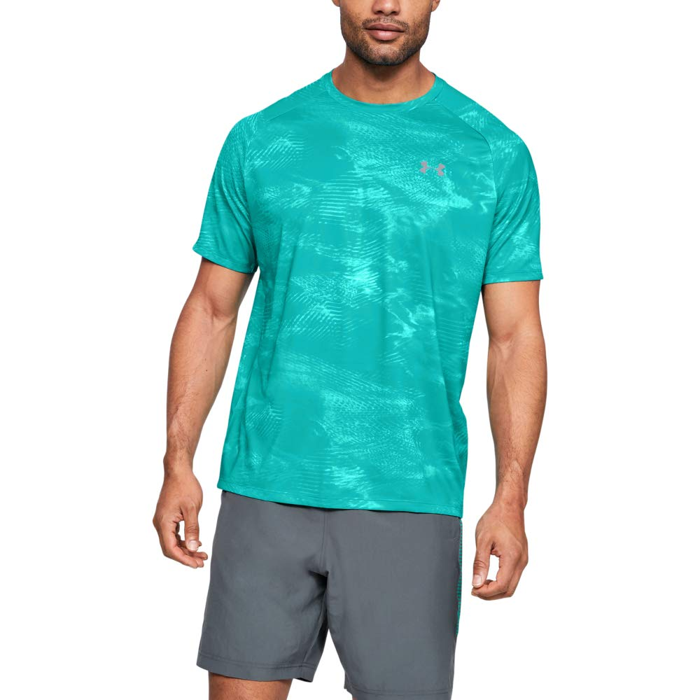 Under Armour Tech Printed Short-sleeve Shirt, Teal Rush (454)/Pitch Gray, XX-Large by Under Armour