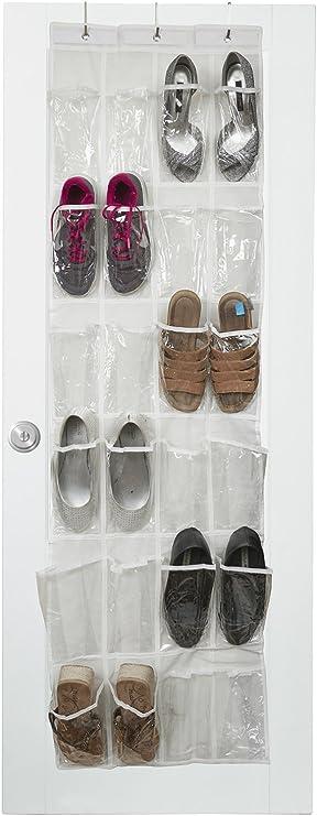 Vinyl Over The Door Shoe Organizer with 24 Reinforced Pockets