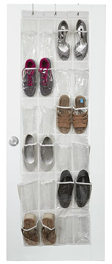 vinyl over the door shoe organizer with 24 reinforced pockets organize your shoes with this