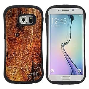 """Pulsar iFace Series Tpu silicona Carcasa Funda Case para Samsung Galaxy S6 EDGE / SM-G925(NOT FOR S6!!!) , Estructura de madera de la textura del material Marrón Naturaleza"""""""