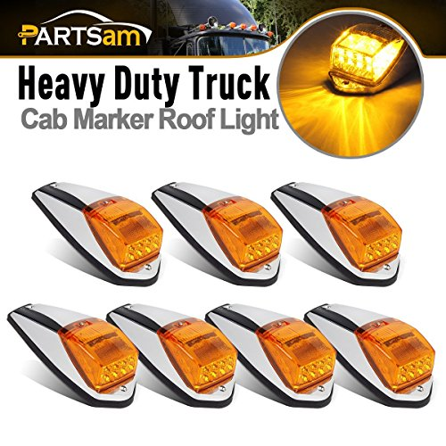 iler Yellow Amber 17LED Roof Running Cab Marker Chrome Light for Kenworth Peterbilt Freightliner Mack Western Star ()