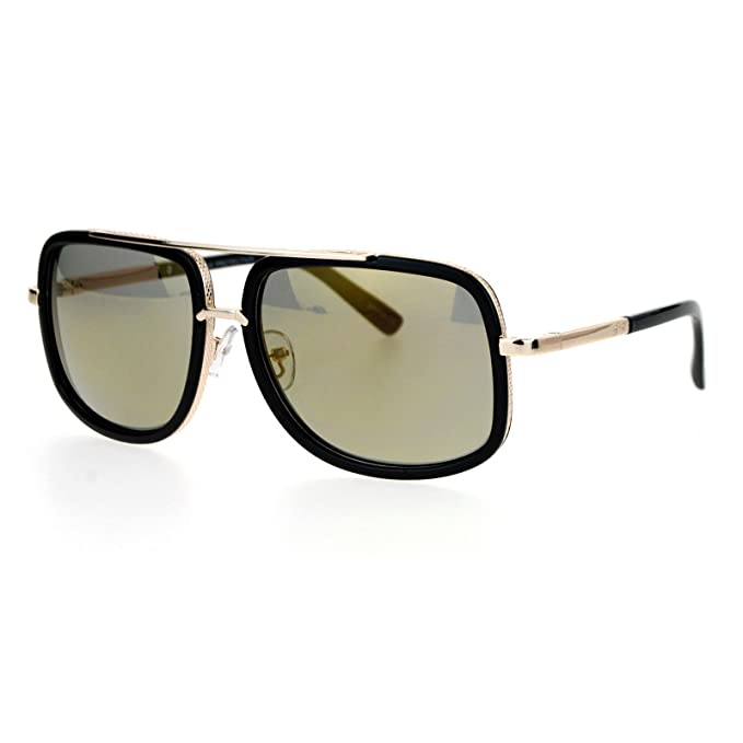 54a010f21a7 SA106 Rectangular Double Frame Mobster Style Racer Pilot Sunglasses Black  Gold