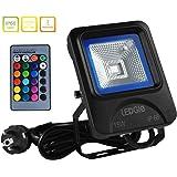 LEDGLE 15 W LED Foco Luz RGB de Foco de Luz Impermeable al Aire Libre Luces con Control Remoto, 16 Colores 4 Modos de Iluminación, Resistente al Agua IP66