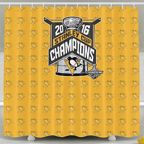 IWKULAD 2016 Stanley Cup Champions Pittsburgh Penguins Customized Shower Curtains