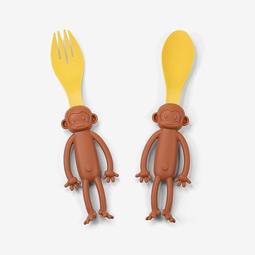 Juego de tenedor y cuchara de mono