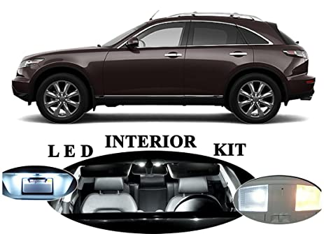 High Quality LED Lights For Infiniti FX35 Xenon White LED Package Upgrade   Interior +  License Plate /