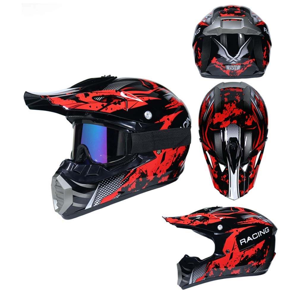 Unisex Adulto Casco Moto Cross Kit Downhill Caschi Moto Offroad Enduro Sport con Fodera Rimovibile MRDEAR Casco da Motocross Set con Guanti//Occhiali//Face Mask//Rete Elastica Moto Nero e Rosso
