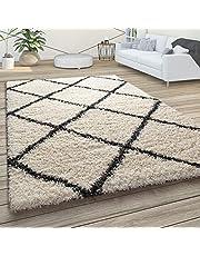 Hoogpolig tapijt, zachte shaggy voor de woonkamer in Scandinavische stijl met ruitmotief, Maat:160x220 cm, Kleur:Crème