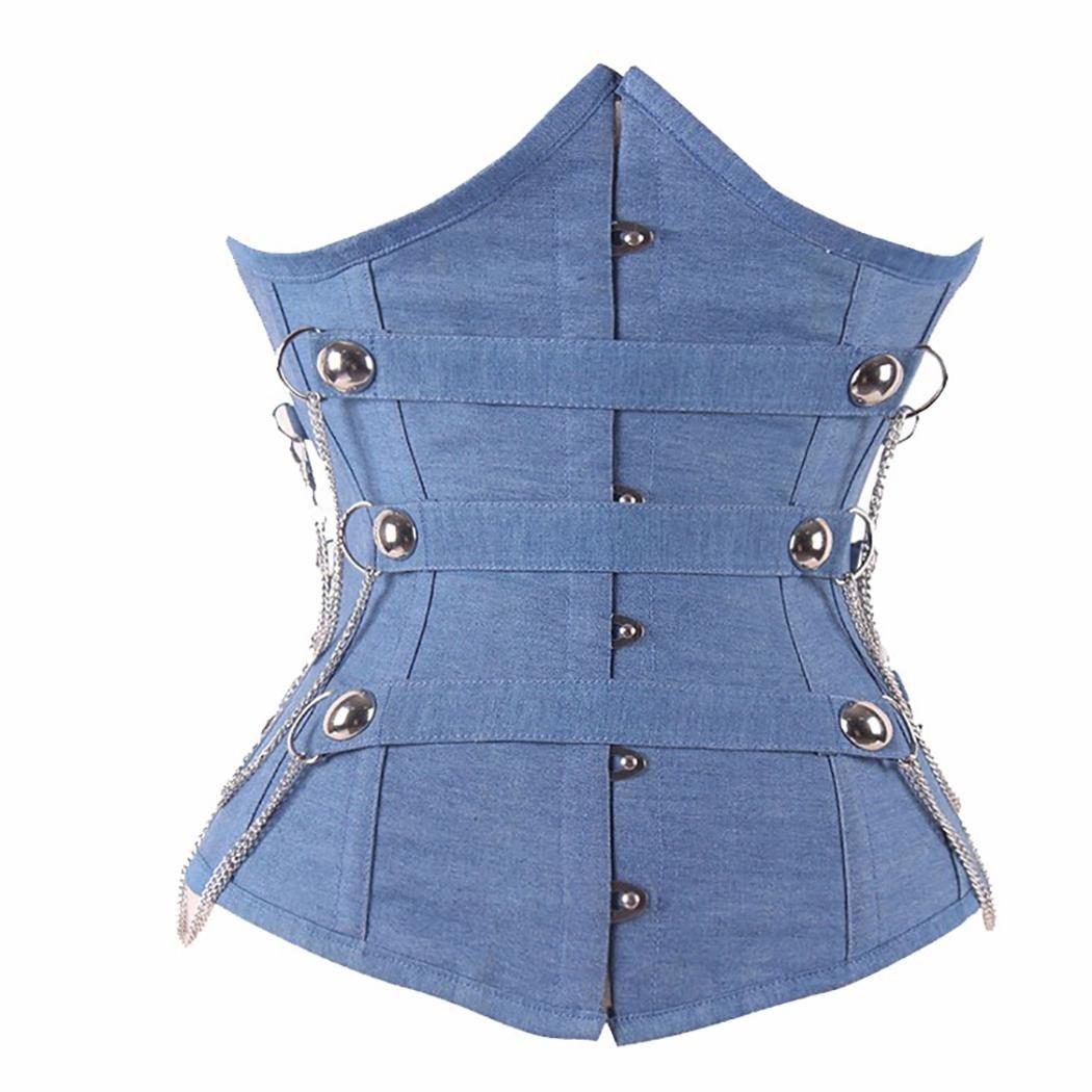 HXQ Corset Denim Blue 12 Steel Deshuesado Ojos Underbust Cintura Entrenamiento Shapewear , l , pictu...