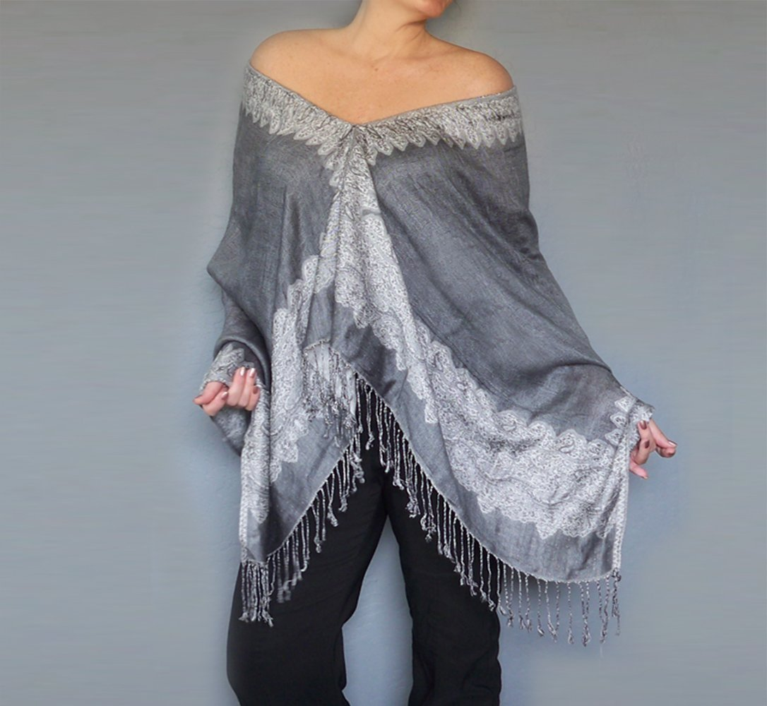 Plus Size Grey Poncho Wrap White Paisley Pashmina Shawl By ZiiCi