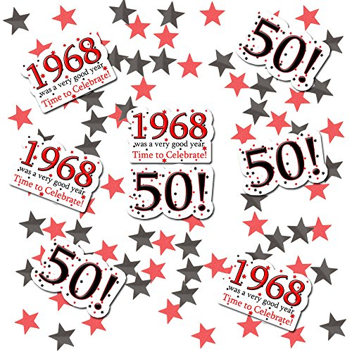 1968-50TH Birthday Deco FETTI (24 Piece Plus Metallic Confetti) by Partypro -