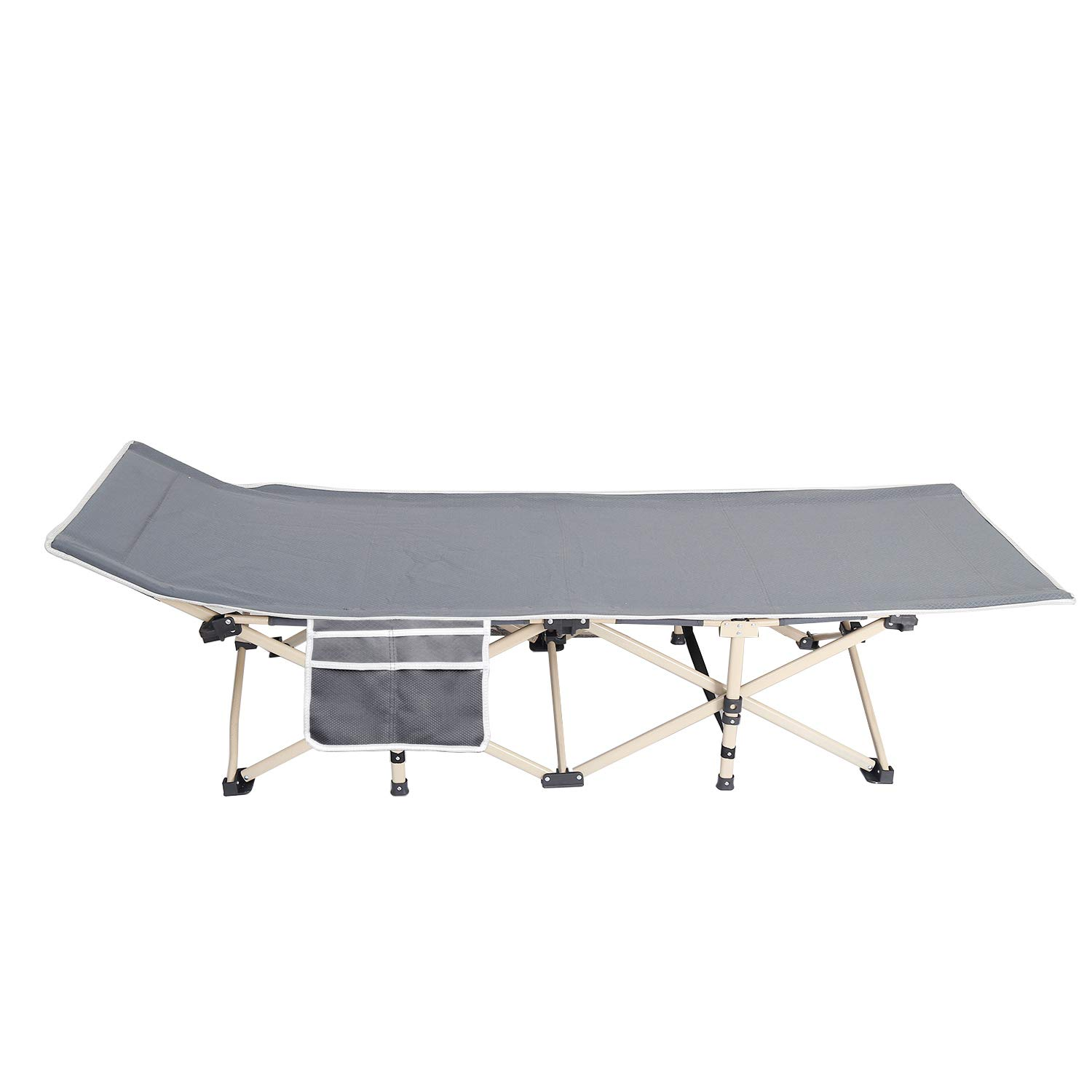 soges Folding Camping Cot with Carry Bag, Portable Bed with Padded Pillow Side Pocked, Light Weight Sleeping Bed, Indoors and Outdoors