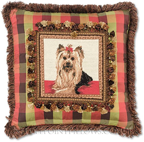 Limited-Edition, Custom-Made, Handmade Decorative Silk Yorkshire Terrier Needlepoint Yorkie Dog Throw Pillow. 20