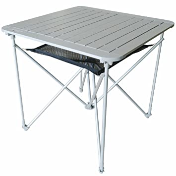 Portable Lightweight Outdoor Folding Table With Mesh Basket | Small Aluminum  Metal Collapsible Table   Fold