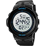 Voeons Men's Sports Watch Black Band Big Face Digital Military Wrist Watches with Stopwatch, Chronograph, Alarm, Date and Day, 50M Waterproof for Swimming and Diving