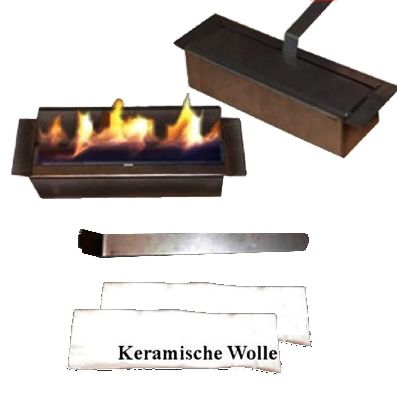 1 litri di bio-etanolo regolabile bruciatore con lana ceramica Gel + Ethanol Fire-Places 1-Liter-Brenner V2A