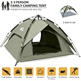 BFULL Instant Pop Up Camping Tents for 2-3 Person Family, Dome Waterproof Sun Shelters Backpacking Tents Quick Set up…