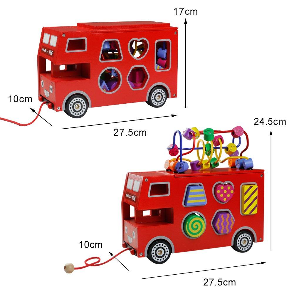 Akokie Roter Bus Spielzeug Modell, Bus Holz Form Sorter, Holzformen Geometrisch für Kinder im Alter von 3 4 5 6 , MEHRWEG