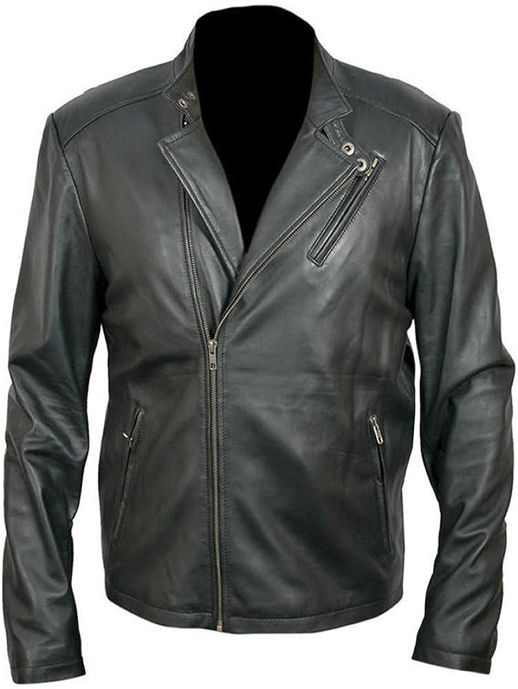 Classyak Mens Fashion Iron Real Leather Jacket