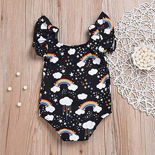 NUWFOR Infant Baby Kid Newborn Cartoon Rainbow Printed Ruffle Romper Bodysuit Outfits(Black,3-6Months) by NUWFOR (Image #1)