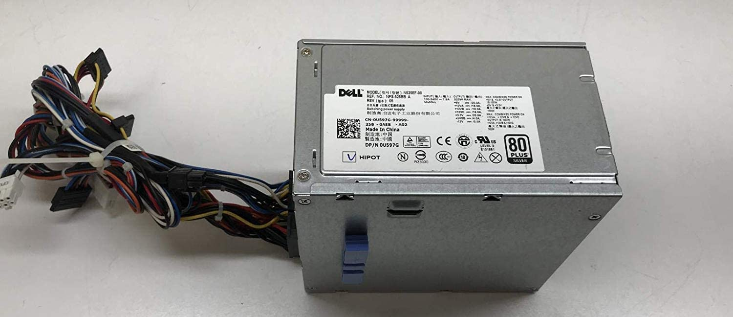 Genuine Dell 525W 6W6M1 M821J Power Supply Unit PSU For Precision T3500 and Alien Aurora Systems Compatible Part Numbers: U597G, 0G05V, M821J, M822J, 6W6M1, X008G Compatible Model Numbers: NPS-525BB A, N525EF-00, H525AF-00, HP-D5253A0, H525AF-00, D525A001L, H525EF-00, HP-D5252E0