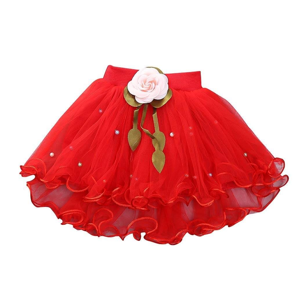 WUAI Baby Girls Tutu Skirts Layered Tulle Birthday Princess Dance Party Floral Dresses (Red,2-3 Years)