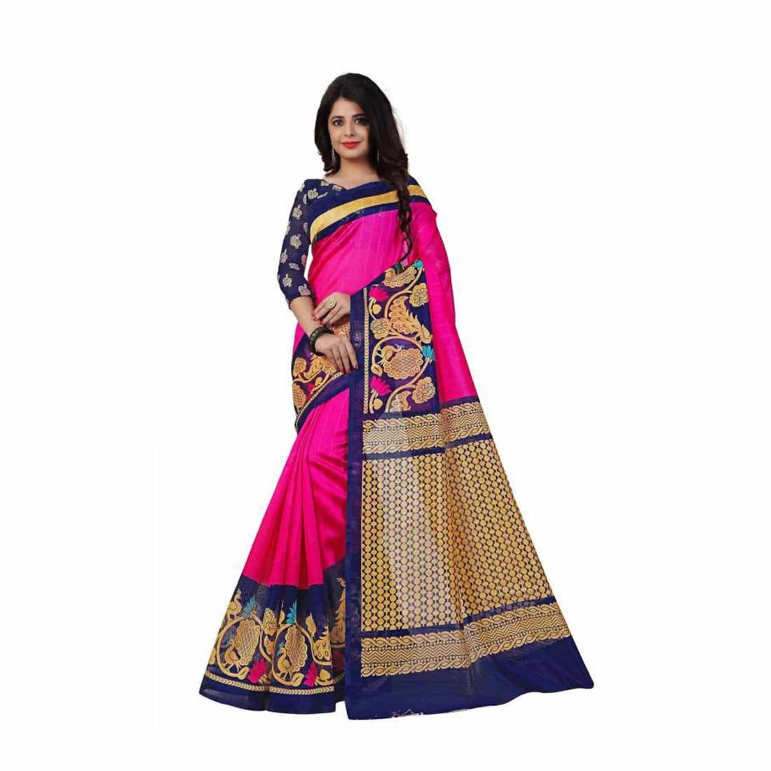 Printed Fashion Art Silk Saree (Pink) Indian Handicrfats Export FKSAR-0074