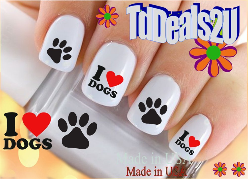 Amazon.com: Black Paw Prints Nail Decals: Beauty