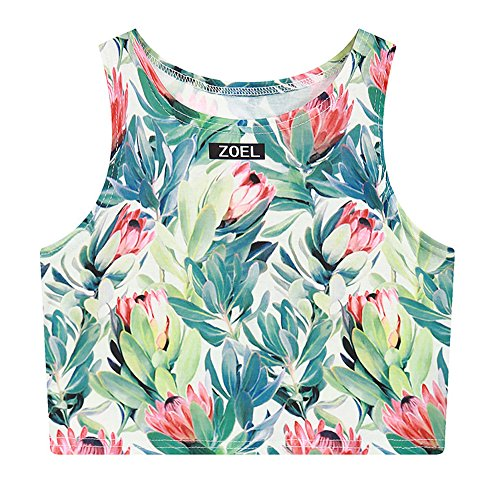 Women's Multi Digital Printed Sexy Bodycon Sleeveless Cropped Tank Top (Flower) , One - Tank Flower