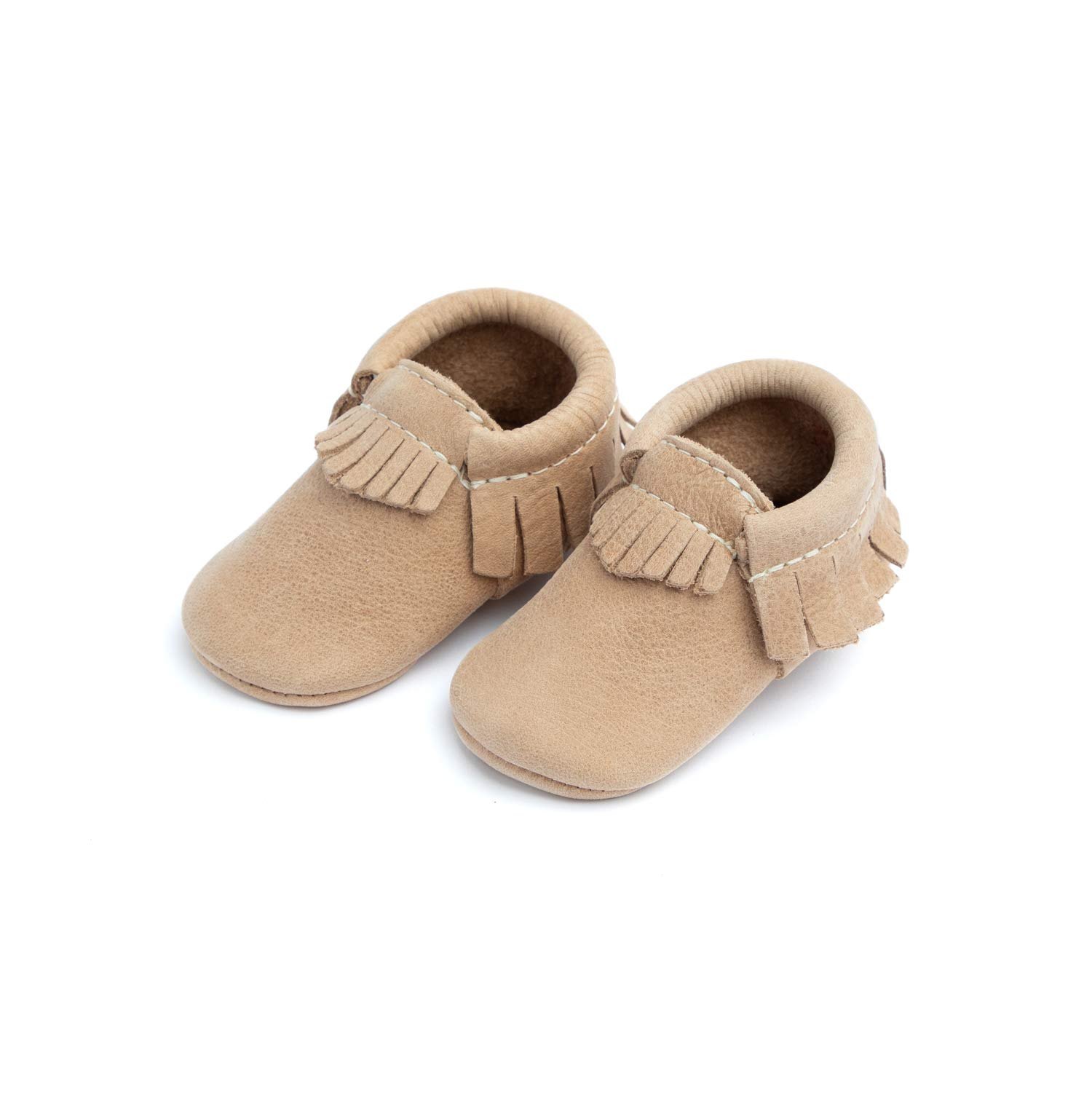 Freshly Picked - Soft Sole Leather Moccasins - Baby Girl Boy Shoes - Size 4 Weathered Brown by Freshly Picked