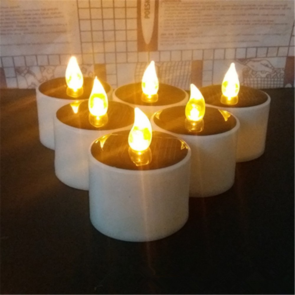 Romantic Solar Energy LED Light Birthday Candle Lamp Nightlight for Home Decor set of 6 (Yellow)