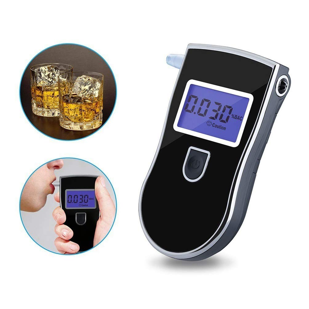 Alcohol Tester, 5 Mouthpieces with LED Screen Portable High-Precision Breathing Fast Respond Speed for Drunk Driving Test
