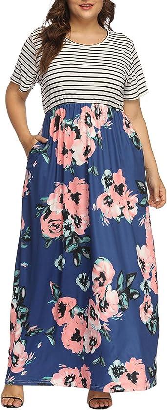 Allegrace Women\'s Plus Size Floral Print Striped Patchwork Maxi Dress Short  Sleeve Long Dresses