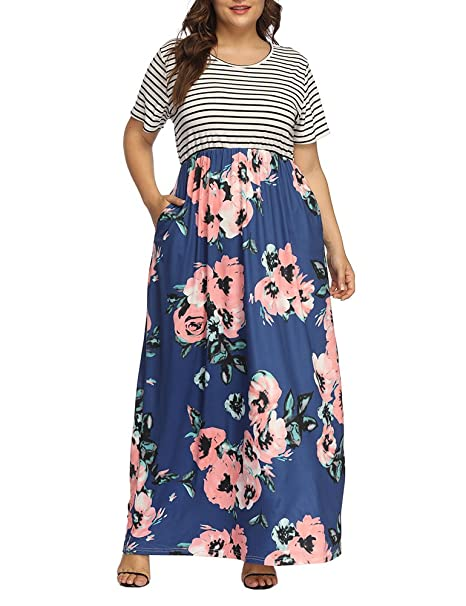 Allegrace Women\'s Plus Size Floral Print Striped Patchwork Maxi Dress Short  Sleeve Long Dresses