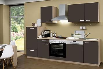 Smart Easy Küchenzeile 280 cm Lava mit Glaskeramik-Kochfeld ...