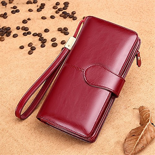 Leather Lovely Genuine Wallets Great Nice Claret Color Bags Fashion Purses Purses rabbit Orange qRExAwR1