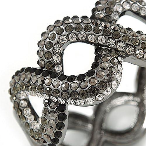 19cm L Avalaya Black//Grey//Clear Crystal Plaited Hinged Bangle Bracelet in Black Tone
