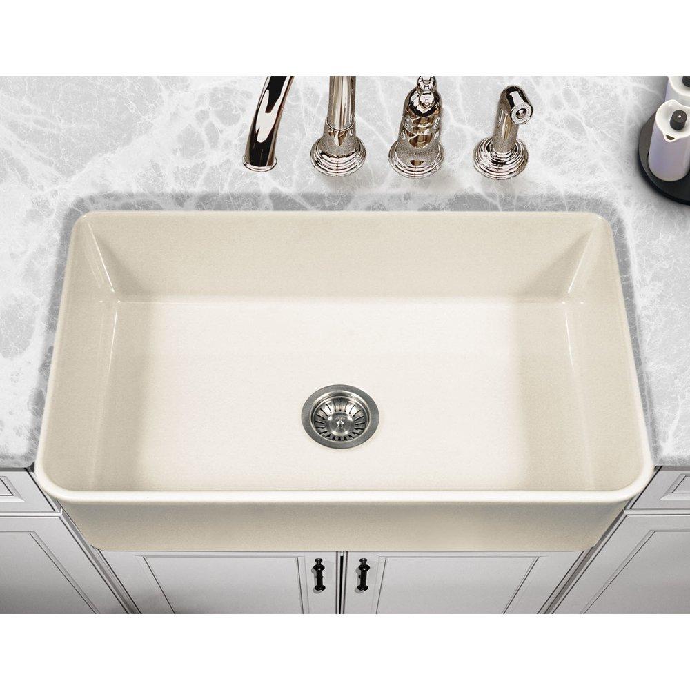 Houzer PTG-4300 BQ Platus Series Apron-Front Fireclay Single Bowl Kitchen Sink, 33'', Biscuit by HOUZER (Image #2)