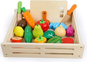 NPL Wooden Food Toys for Kids PretendPlay Food Set PlayKitchen Cut-Table Toy Fruit and Veg with Wooden Knife Peeler Cutting Board Gift Idea for Boy Girl Birthday (Large Size)
