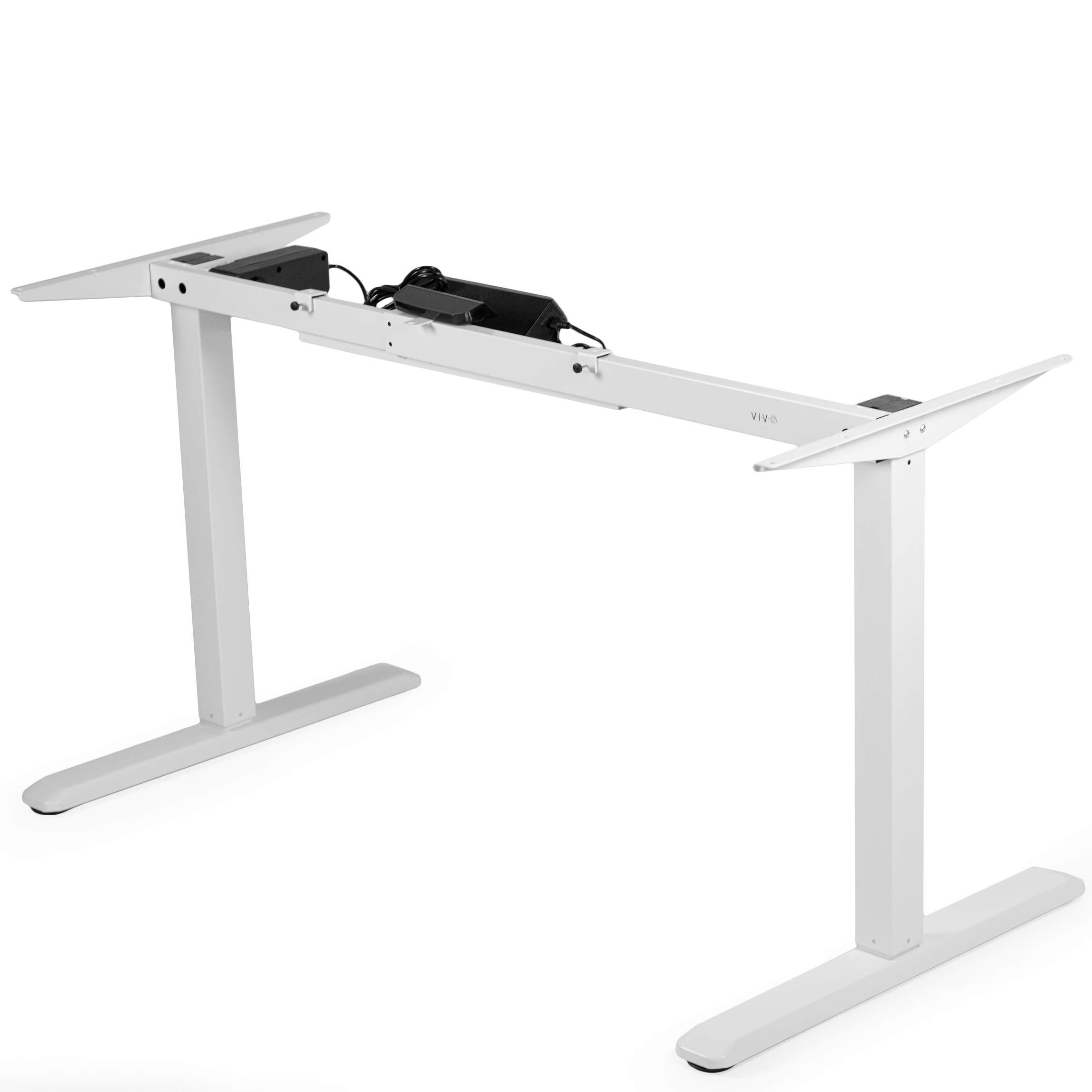 VIVO White Electric Stand Up Desk Frame Workstation, Single Motor Ergonomic Standing Height Adjustable Base (DESK-V102EW)