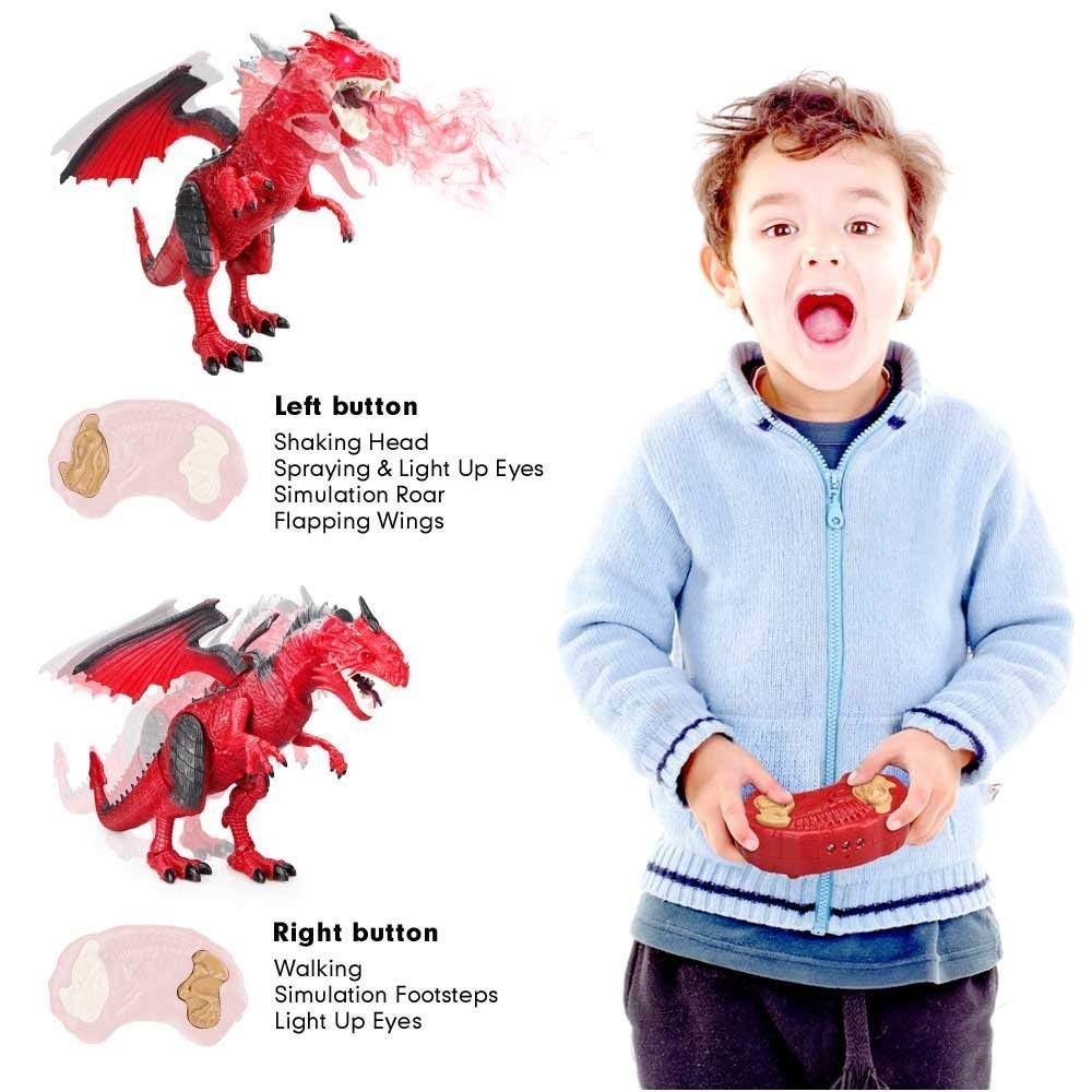 Remote Control Electronic Walking Dinosaur Toy Children RC Animal Toys w/ Simulation Roaring , Spraying Smoke , Shaking Head , Flapping Wings Functions ,Cool for Boys & Girls (Red) by O.B Toys&Gift (Image #3)