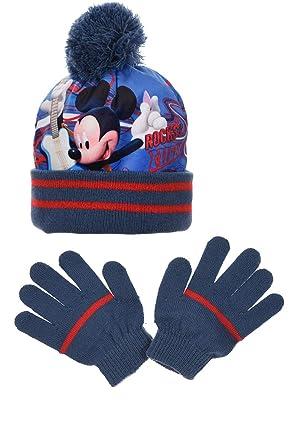 a6de0db9d99a9 Mickey Mouse Ensemble Bonnet Pompon + Gants Mickey Bleu - Impression  Sublimation Acrylique et Polaire Disney
