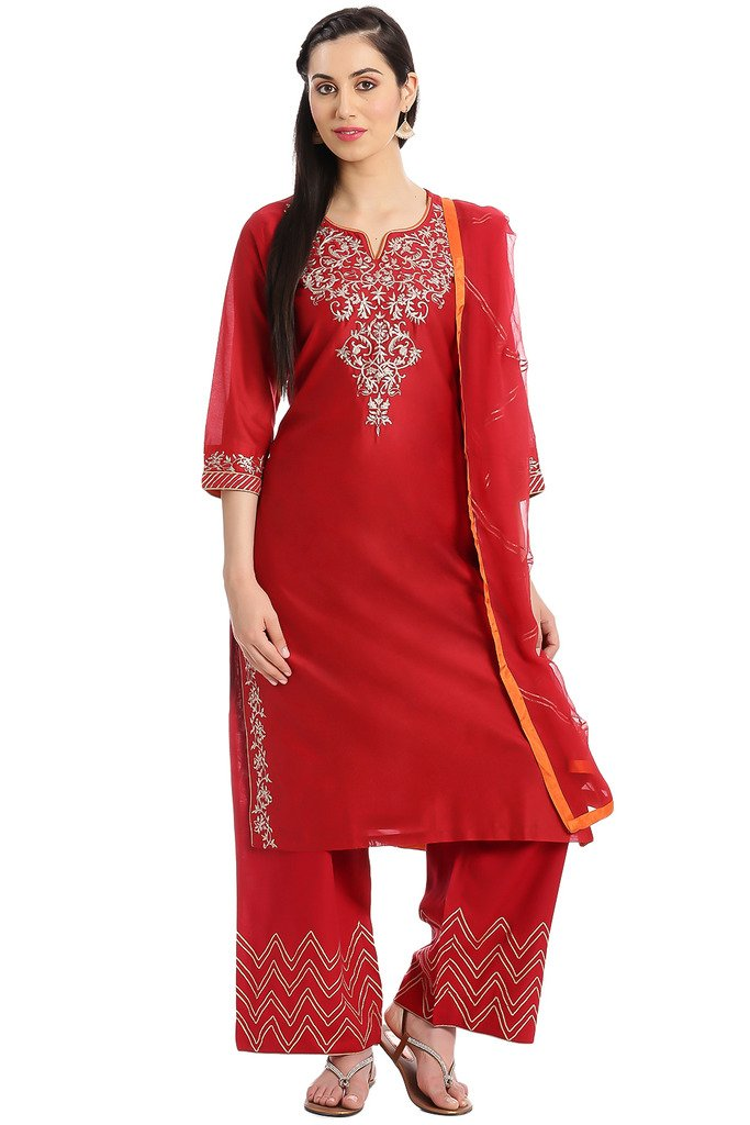 BIBA Women's Straight Cotton Silk Suit Set 42 Red