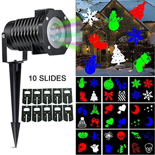Ucharge Christmas LED Projector Light with 10 Pattern Waterproof Snowflake Dynamic Slides, Multi by Ucharge