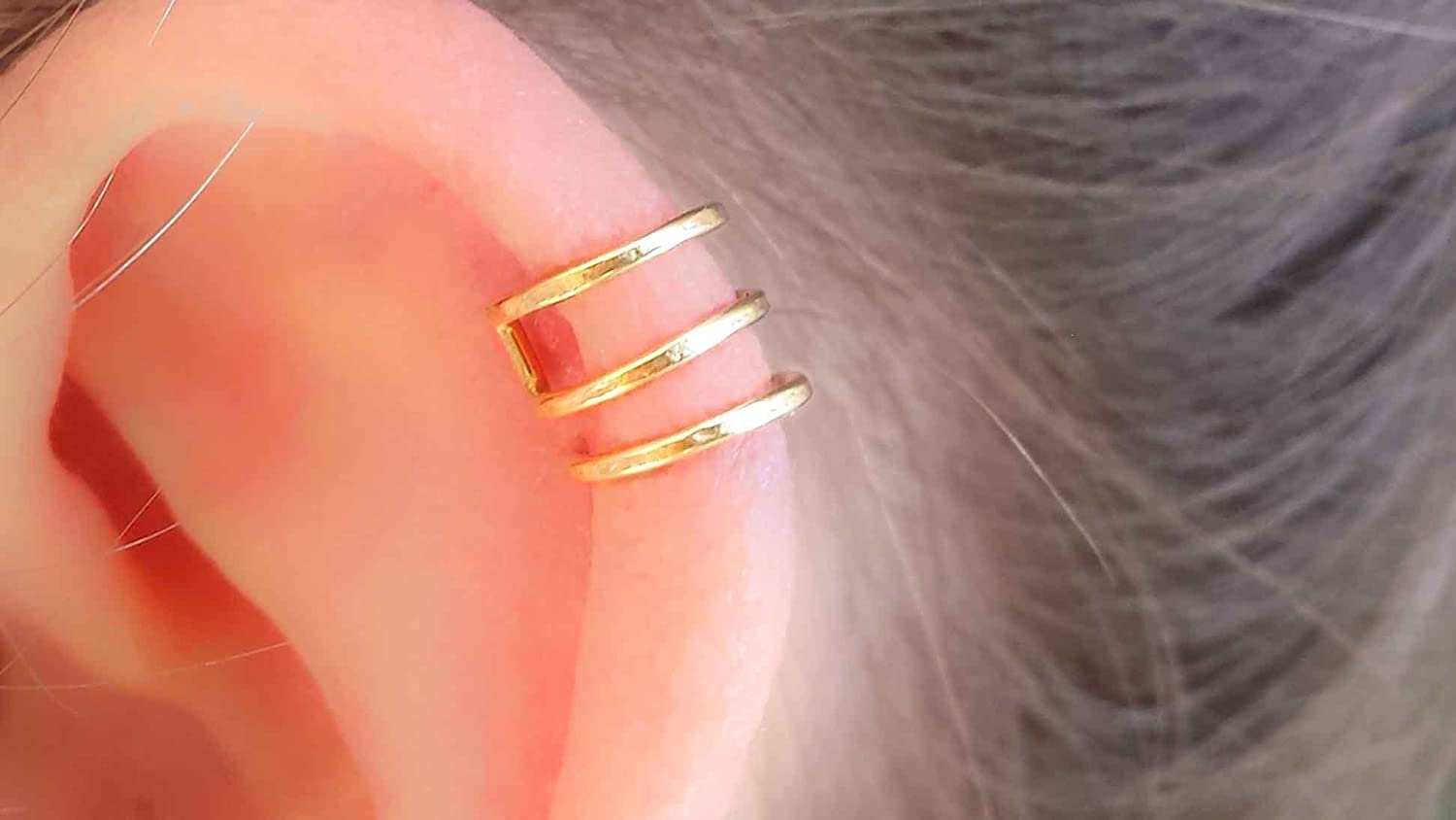 Triple Band Helix Earcuff Hammered 14k gold filled Cuff Earring Ear Wrap Non Pierced Fake Piercing Clip On